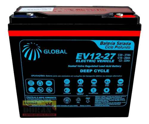 Kit 2 Baterias 27ah 12v para Bike Elétrica 6-dzm-20 Global Ciclo Profundo