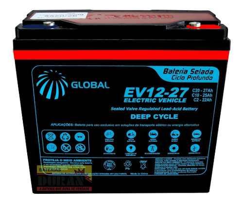 Kit 3 Baterias 27ah 12v Global Bike Elétrica 36v 6dzm20 Vrla