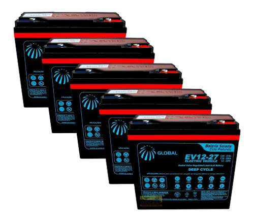 Kit 5 Baterias 27ah 12v Global Bike Elétrica 60v 6dzm20 Agm