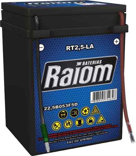 Kit Bateria Moto Raiom Yb2,5-la E Carregador Inteligente 3ah Cg125
