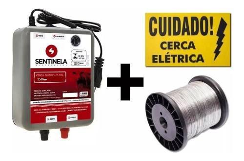 Kit Eletrificador Cerca Rural 150km Bivolt + Arame + Placa
