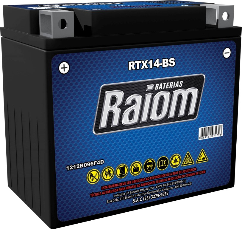 Bateria de Moto Raiom Ytx14-bs 12ah 12v Selada (Rtx14-bs)