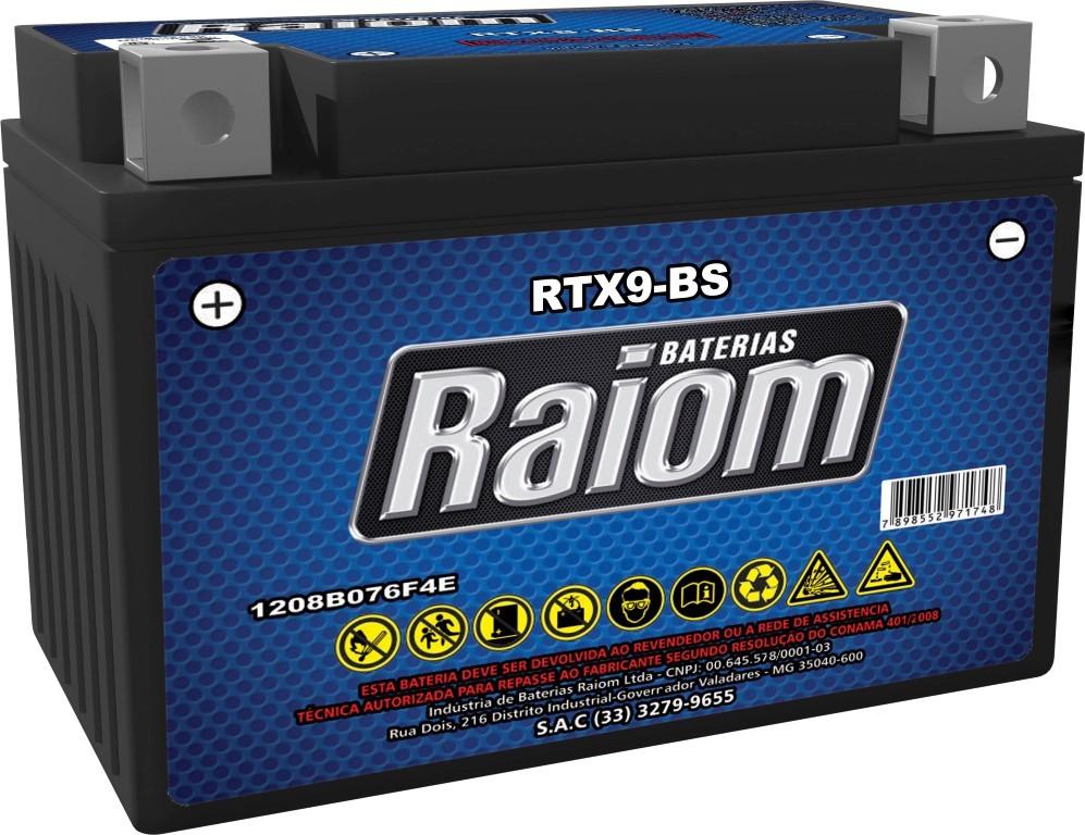 Bateria de Moto Raiom Ytx9-bs 8ah 12v Selada (Rtx9-bs)
