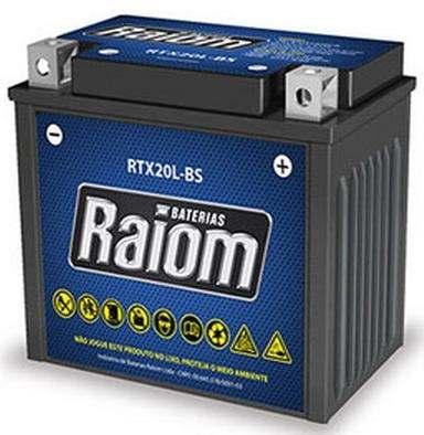 Bateria de Moto Raiom Ytx20l-bs 18ah 12v Selada (Rtx18l-bs)