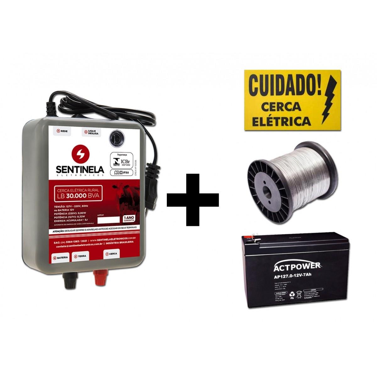 kIt Eletrificador de Cerca Rural 30km Bivolt + Bateria Gel 7ah + Arame + Placa