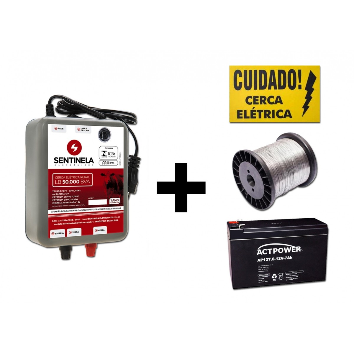 Eletrificador Cerca Rural 50km+bateria Gel 7ah+arame+placa