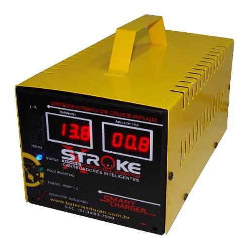 Carregador de Bateria Stroke Power 32ah 12v Inteligente com Amperímetro e Voltímetro Digital
