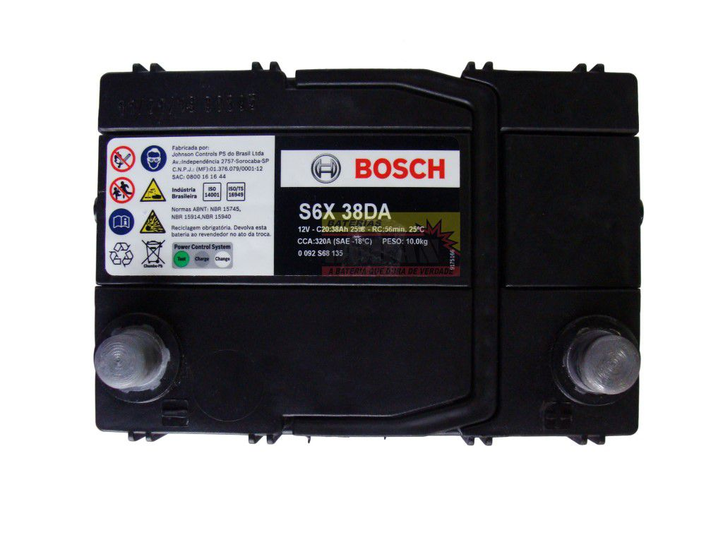 Bateria Automotiva Bosch 38ah 12v Selada Honda City Fit New Fit S6X38DA