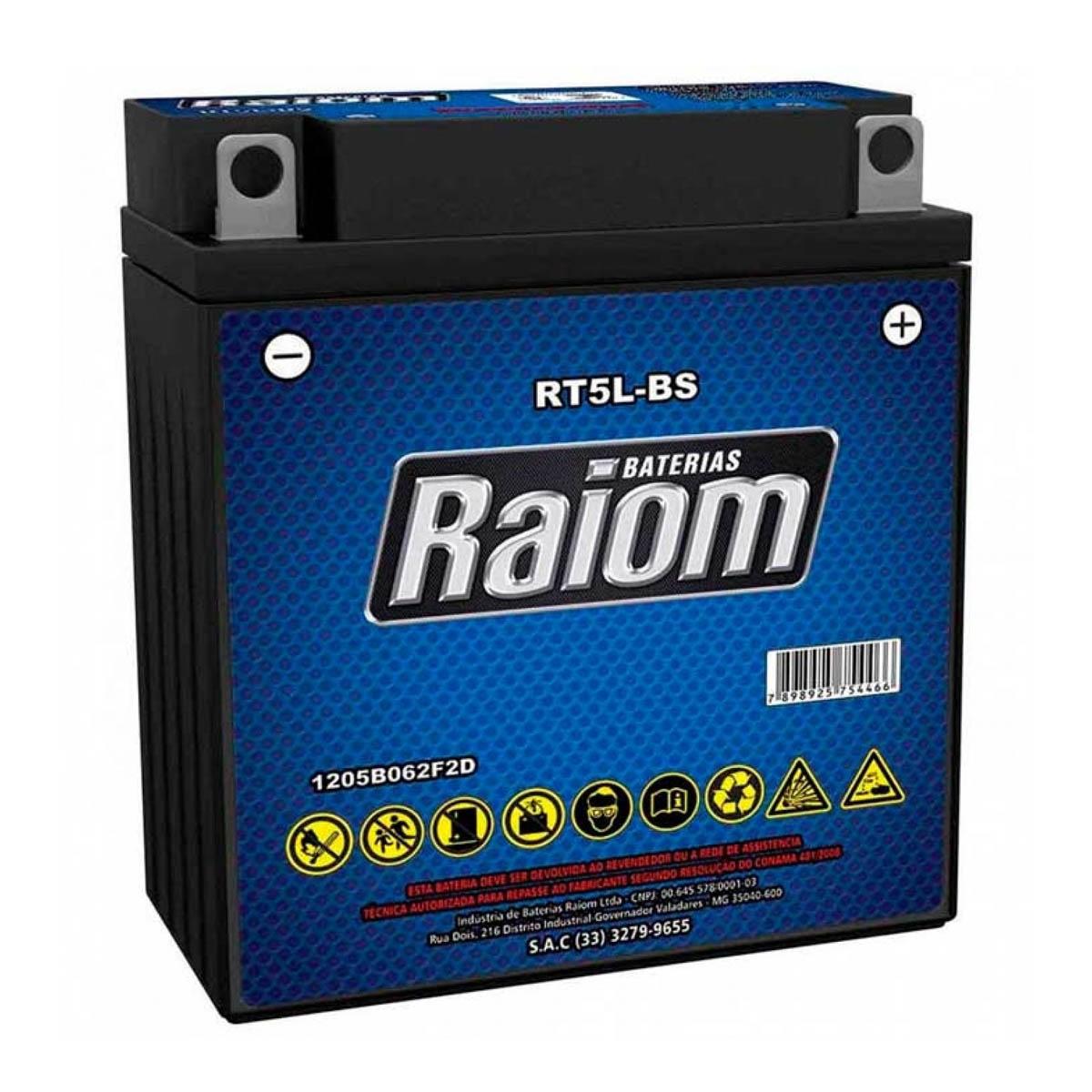 Bateria de Moto Raiom Rt5l-bs 5ah 12v Selada