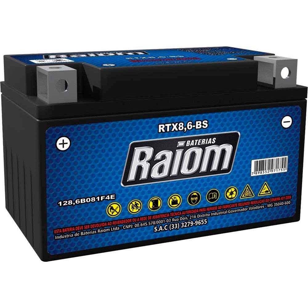 Bateria de Moto Raiom Ytz-10s 8,6ah 12v Selada (Rtx8,6-bs) YTZ10S