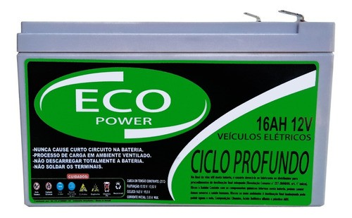 BATERIA ECO POWER 12V 16AH 6-DZM-12 PARA BIKE ELÉTRICA PATINETE ELETRICO