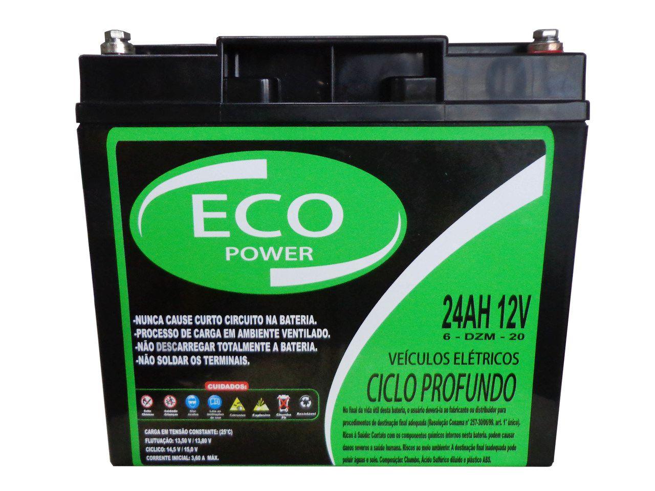 Bateria Eco Power Gel 12v 24ah Ciclo Profundo Bike Cadeira De Rodas Da Ortobras 6-dzm-20