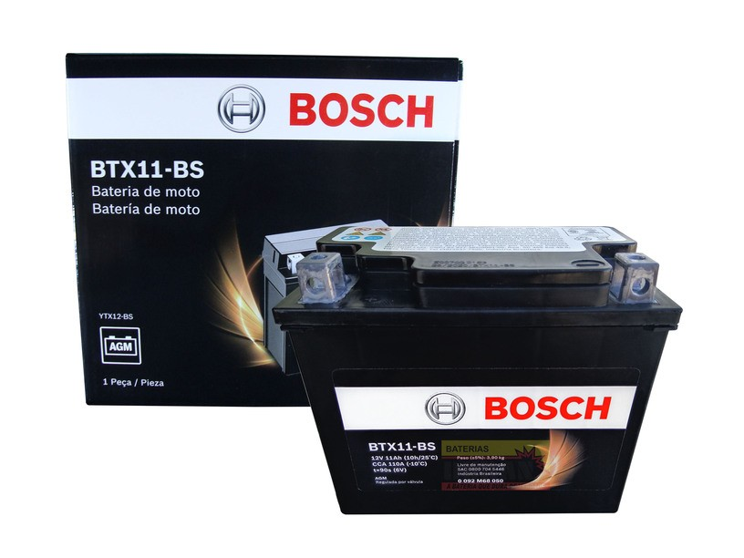 Bateria Moto Bosch Btx11-bs 11ah 12v Kawasaki 650r Vl800 (YTX12-BS)