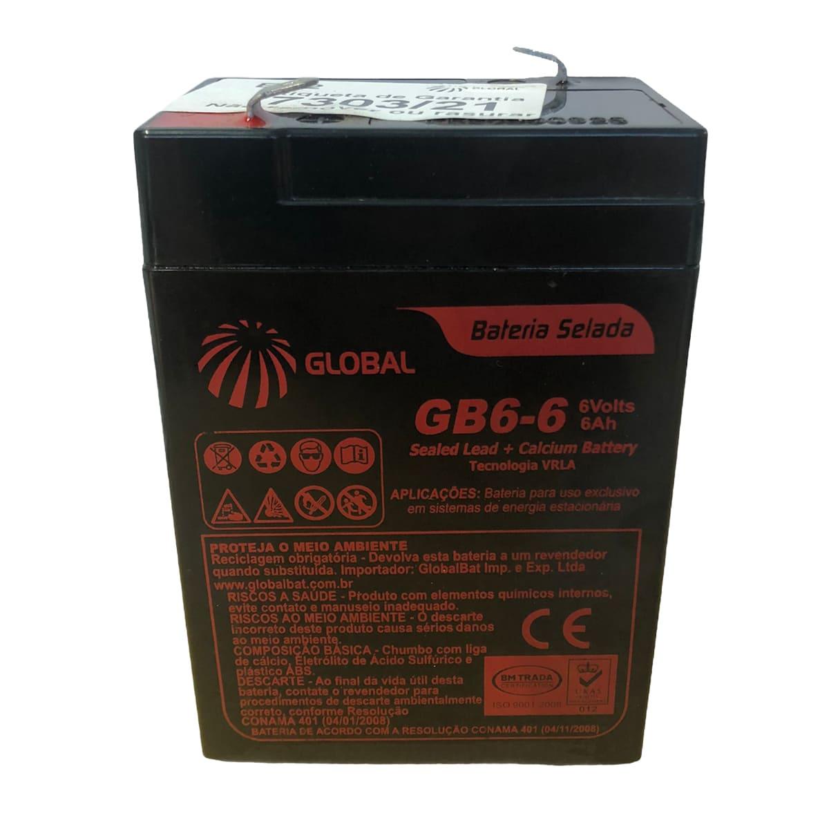Bateria Selada Global 6AH 6V Tecnologia Vrla / Agm GB6-6