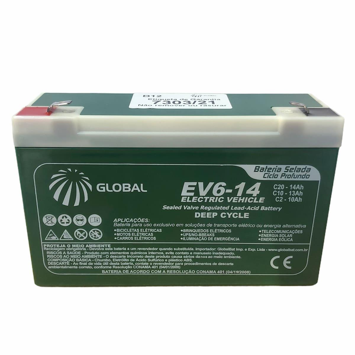 Bateria Selada Global 6V 14AH Ciclo Profundo VRLA EV6-14