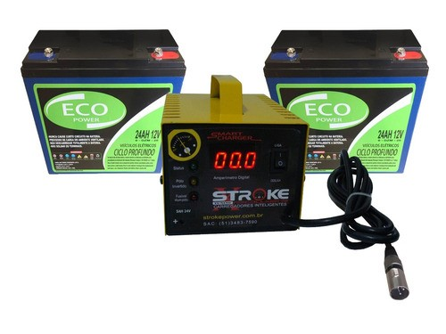 KIT 2 BATERIA ECO POWER 24AH 12V CARREGADOR 5AH 24V ORTOBRAS FREEDOM
