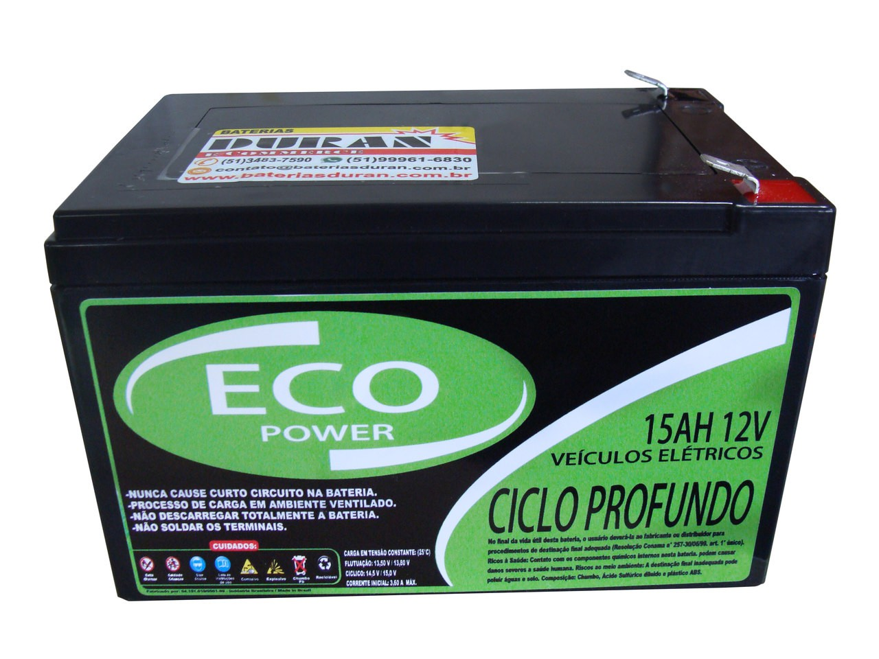 Kit 2 Baterias 15ah 12v Eco Power Ciclo Profundo Vrla