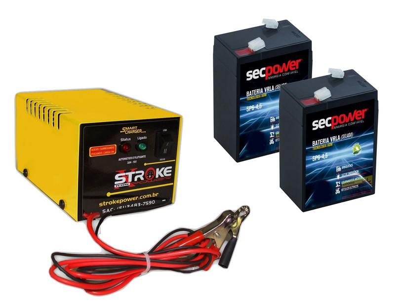 Kit 2 Baterias 4,5ah 6v Carrinho Brinquedo Carregador 6v 3ah