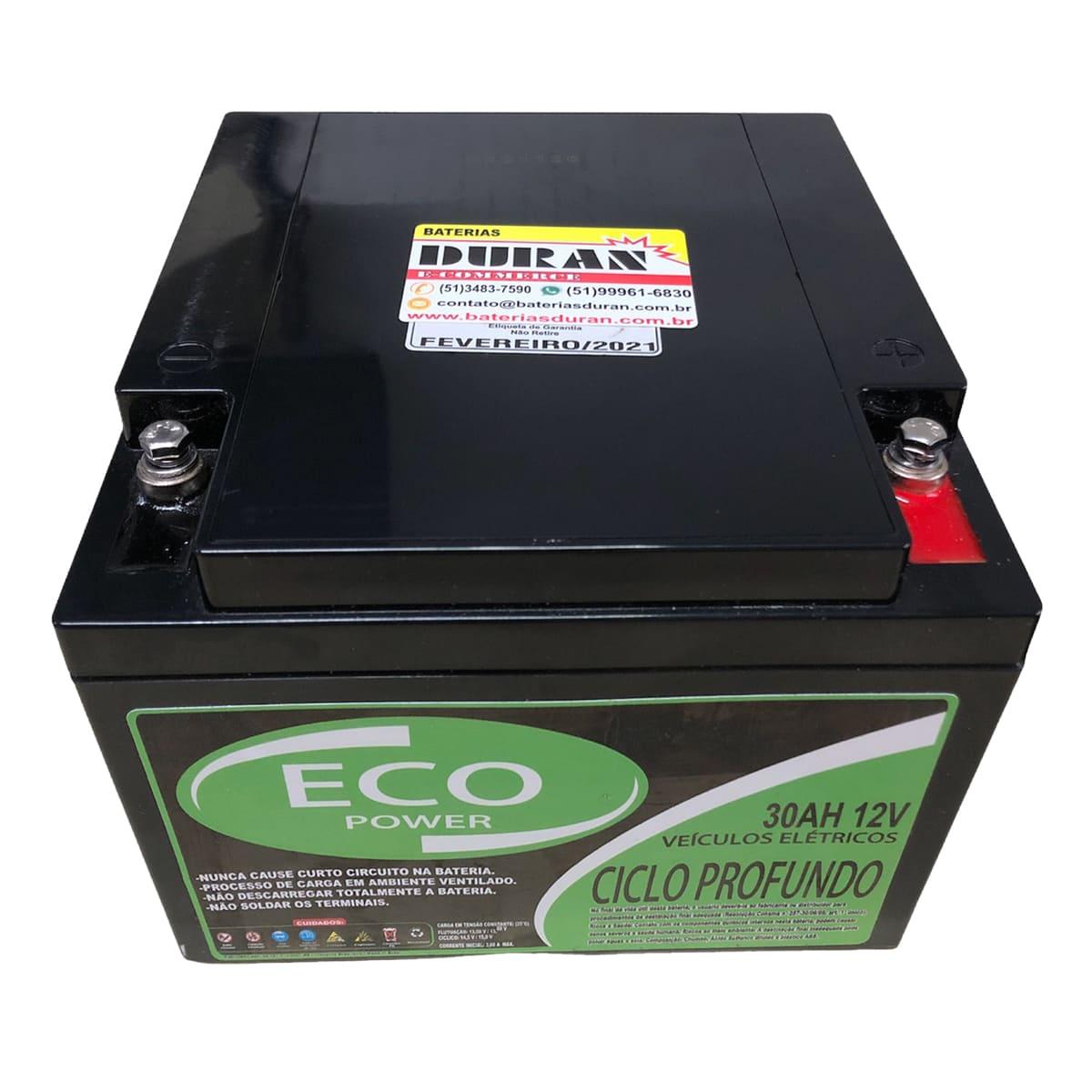 Kit 2 Baterias Selada Eco Power 12V 30AH Ciclo Profundo VRLA