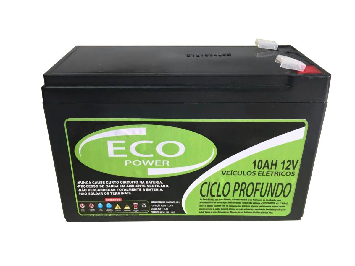 Kit 2 Baterias Eco Power 10ah 12v Patinete Bike Elétrico Scooter