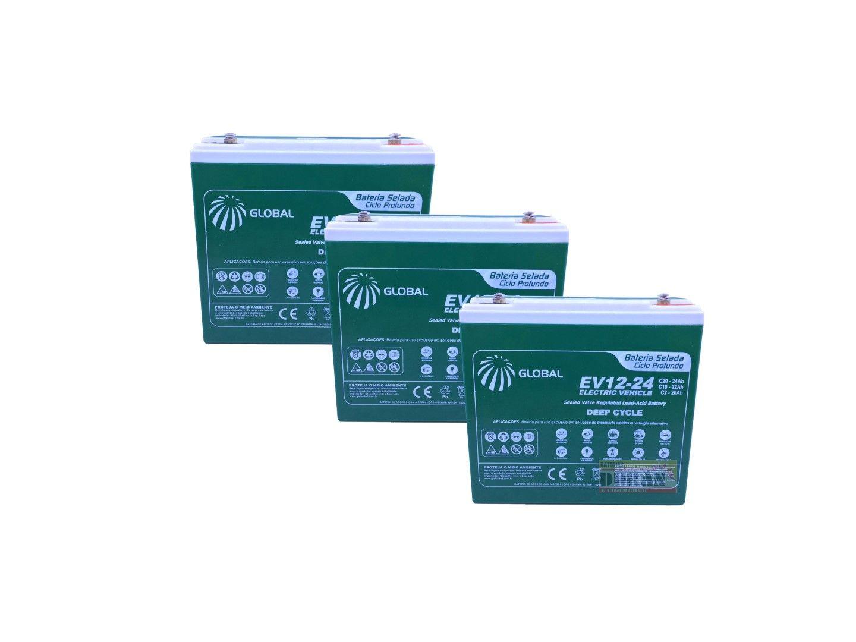 Kit 3 Bateria Global Selada 24ah 12v Tecnologia VRLA / AGM Ciclo Profundo Kit 3 Unidades
