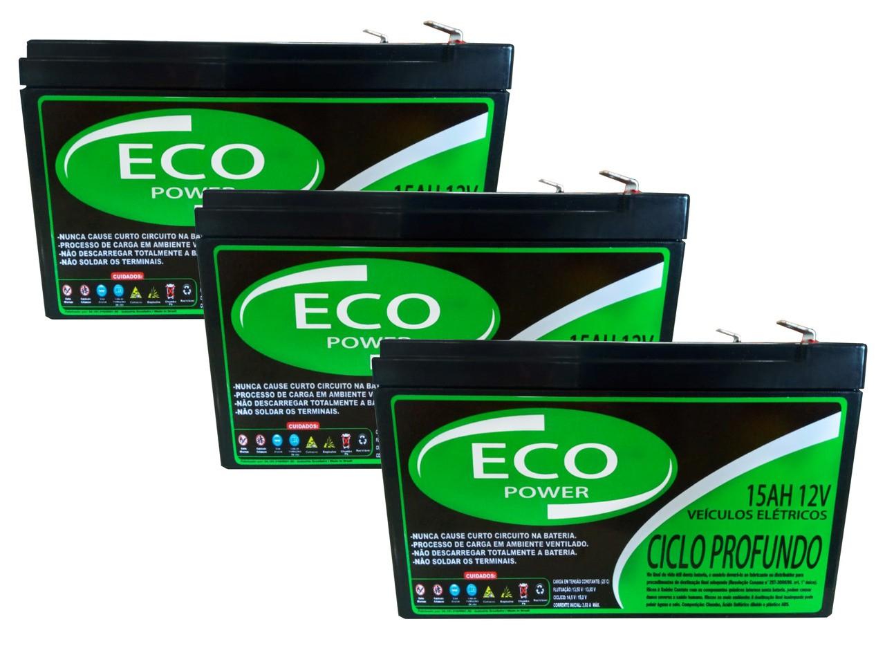 Kit 3 Baterias 15ah 12v Eco Power Ciclo Profundo