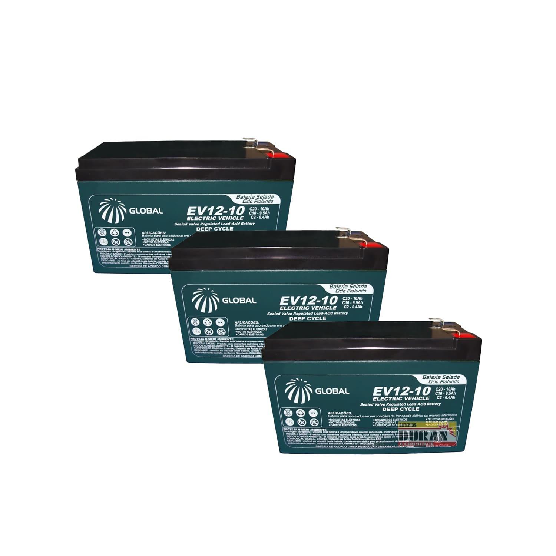 Kit 3 Baterias Gel Ciclo Profundo Global 10Ah 12v 6-dmz-10 Bike Elétrica e Carregador Inteligente 36v