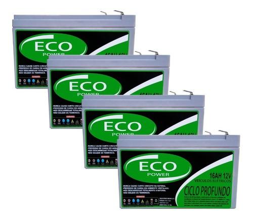 KIT 4 BATERIA ECO POWER 12V 16AH 6-DZM-12 PARA BIKE ELÉTRICA 48v PATINETE ELETRICO 48v