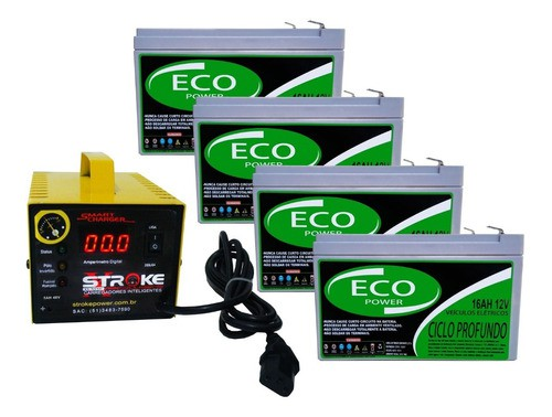 KIT 4 BATERIA ECO POWER 12V 16AH 6-DZM-12 PARA BIKE ELÉTRICA PATINETE ELETRICO E CARREGADOR INTELIGENTE 48V 5AH