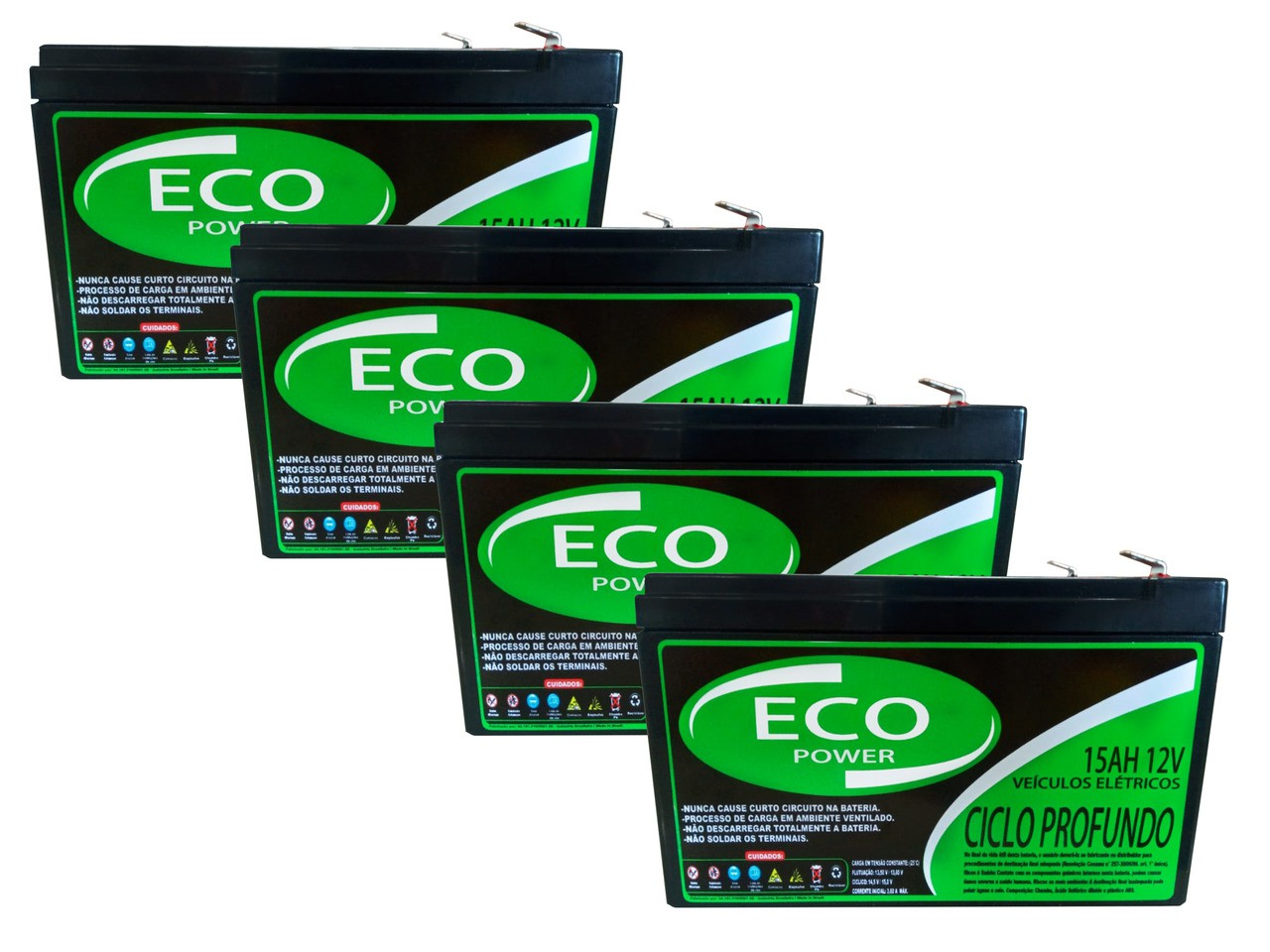 Kit 4 Baterias 15ah 12v Eco Power Ciclo Profundo