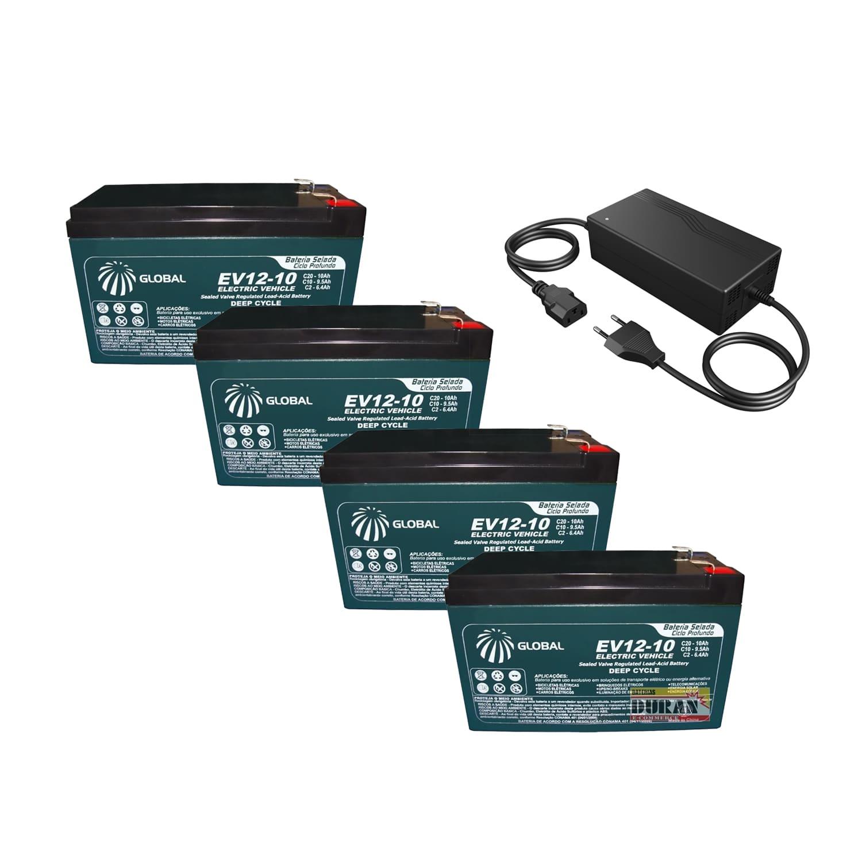 Kit 4 Baterias Gel Ciclo Profundo Global 10Ah 12v 6-dmz-10 Bike Elétrica e Carregador 48v