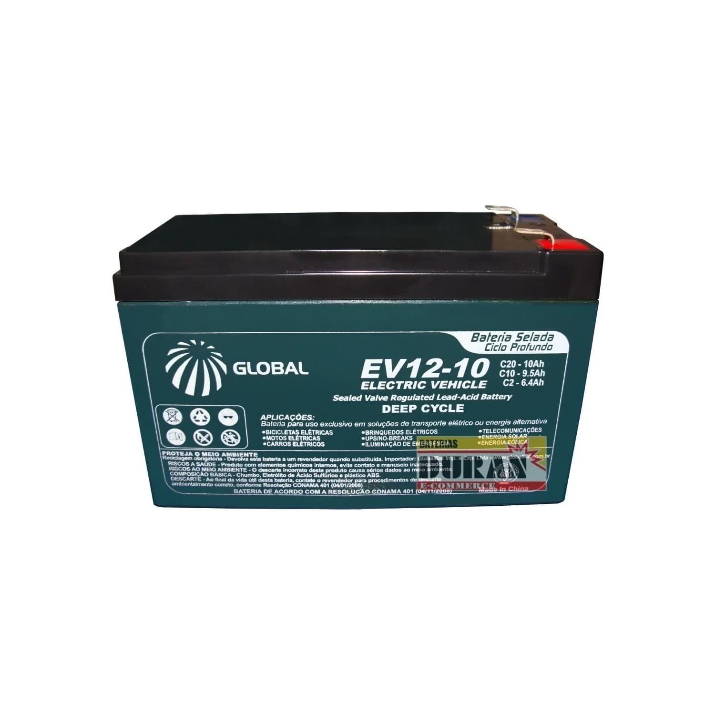 Kit 4 Baterias Gel Ciclo Profundo Global 10Ah 12v 6-dmz-10 Bike Elétrica e Carregador Inteligente 48v