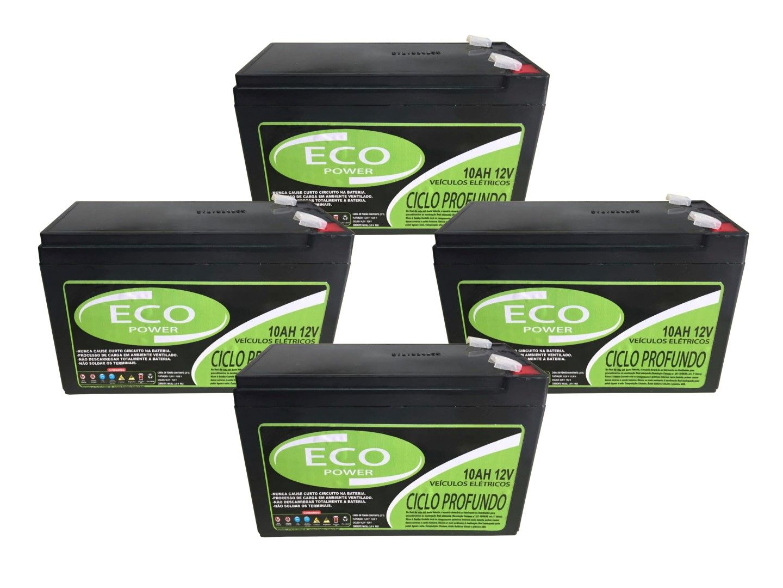 Kit 4un Bateria Selada 10ah 12v Bike Elétrica Ciclo Profundo