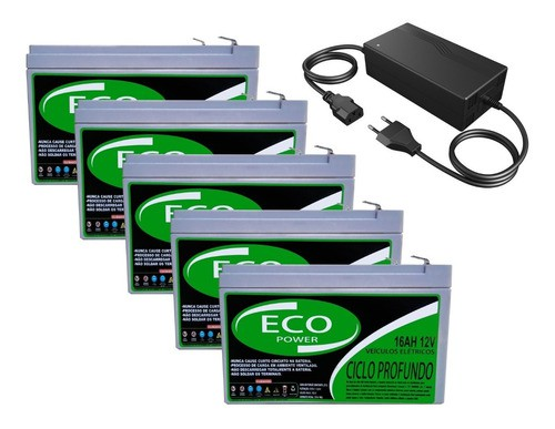 KIT 5 BATERIA ECO POWER 12V 16AH 6-DZM-12 PARA BIKE ELÉTRICA PATINETE ELETRICO E CARREGADOR INTELIGENTE 60V 2,5AH