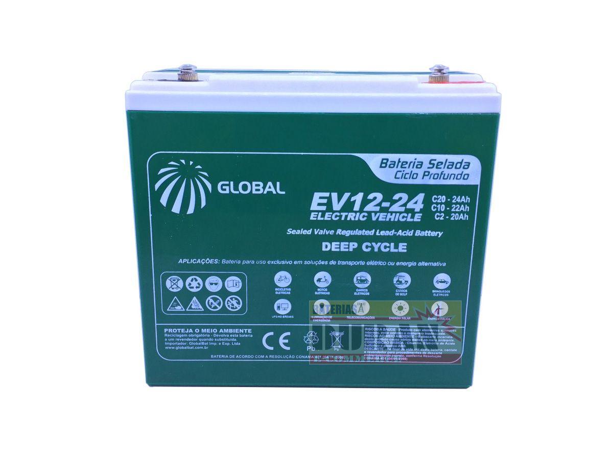 Kit 5 Bateria Global Selada 24ah 12v Tecnologia VRLA / AGM Ciclo Profundo