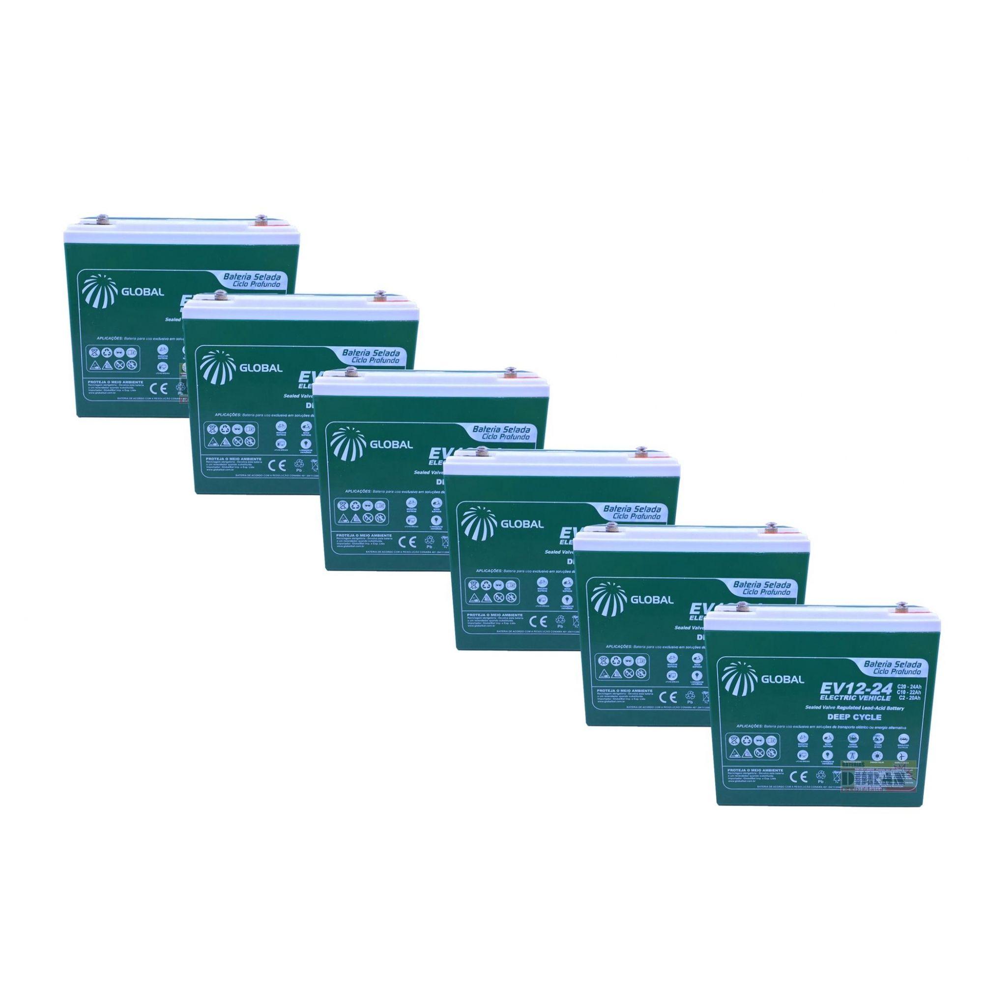 Kit 6 Bateria Global Selada 24ah 12v Tecnologia VRLA / AGM Ciclo Profundo