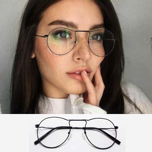 Armação De Oculos grau Redondo 80103 Aviador Style Metal