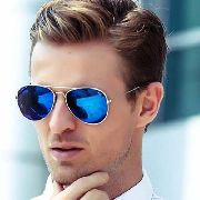 Óculos De Sol Aviador Espelhado Azul Mirrored Uzen