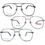 Armação de oculos de grau Aviador Quadrado Grande Metal New Square Steel Thomas