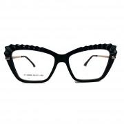 Armação de Óculos de grau Feminino Mosaico Lapidado 3D Gatinho Black Plisse 5050