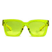 Oculos De Sol Transparente Amarelo Yellow Green Neon Square Sunglasses