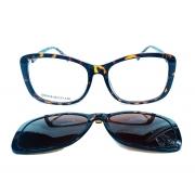 Óculos Quadrado Clip on Oncinha de Grau e solar Tartaruga OM8706