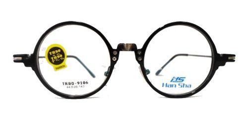 Armação De Óculos Redondo Retro Vintage Preto