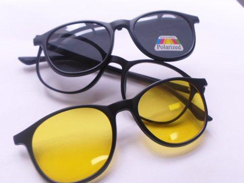 Armação Oculos De Grau Solar Noite Clip on Polarizado Redondo