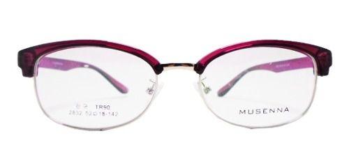 Armação De Óculos Grau Redondo Clubmaster 5154 Violeta Retro