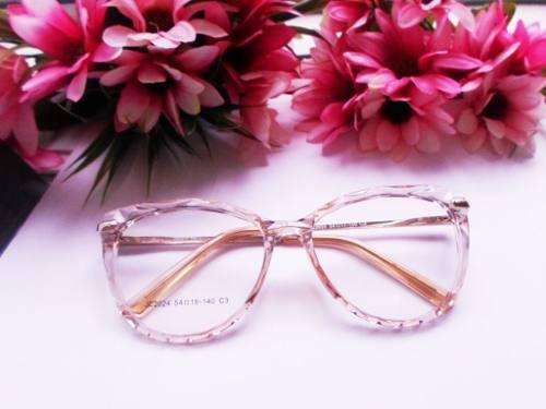Armação De Oculos 5025 Transparente Mosaico Cristal Diamante Fashion