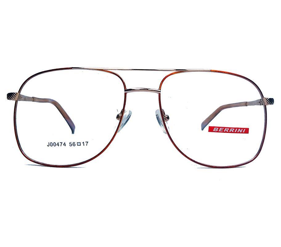 Armação de oculos de grau Aviador Quadrado Grande Metal New Square Steel Dourado