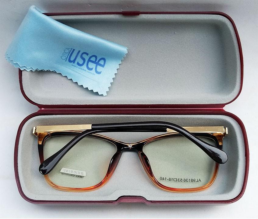 Armação de oculos de grau feminino Gatinho Degrade 518 Fire Metal e acetato