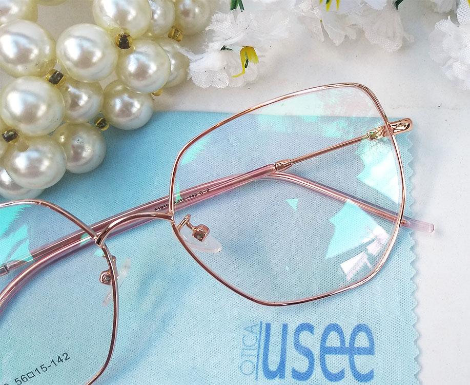 Armação De Óculos De Grau Feminino Gatinho Metal Rosa F1019 Luxo