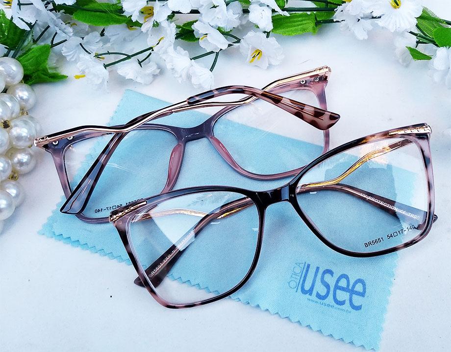 Armação De Óculos De Grau Feminino Gatinho Oncinha Luxo 6402 Paolla